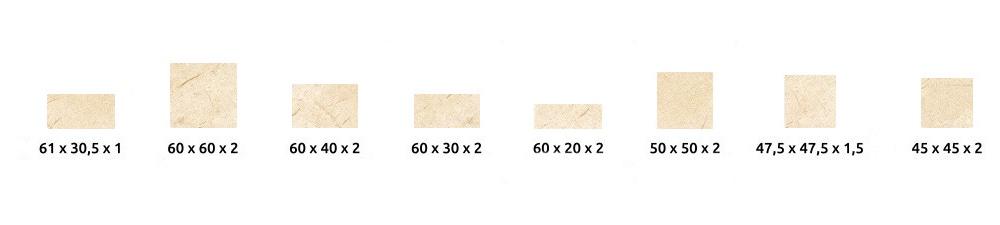 Losas de crema marfil de tipo medio
