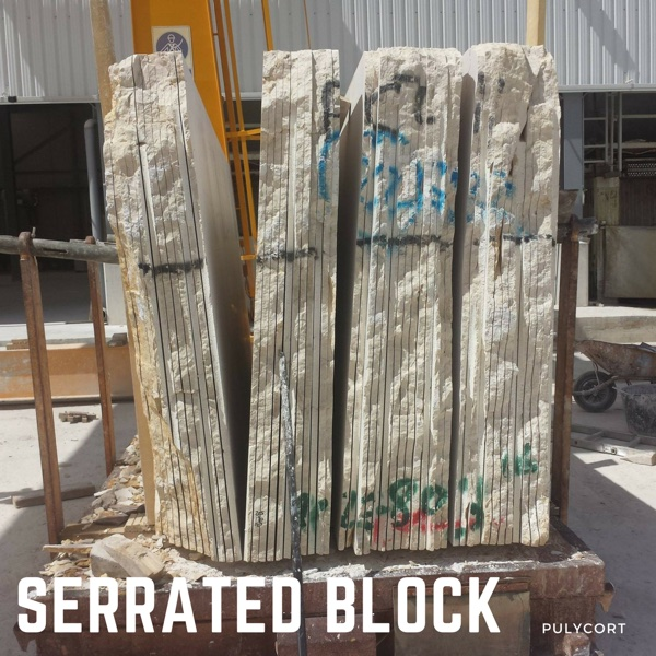 marble processing: serrated marble block