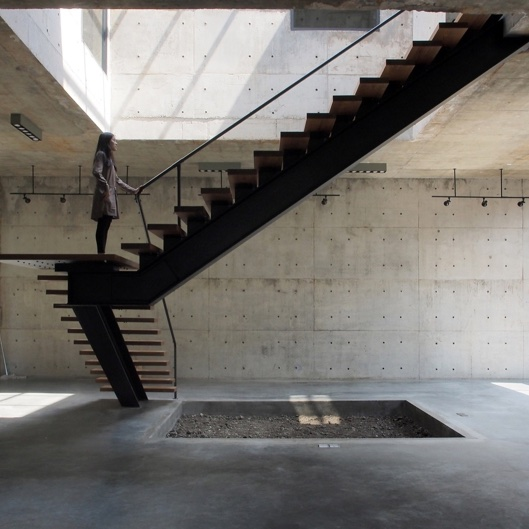 Double straight flight staircases
