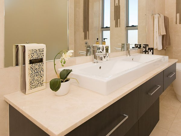 Crema Marfil marble bathroom worktop