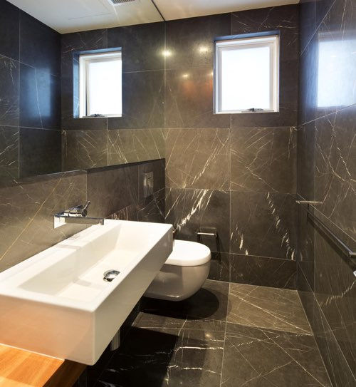 Pietra Grey marble bathroom