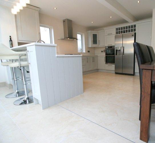 Crema Marfil kitchen flooring