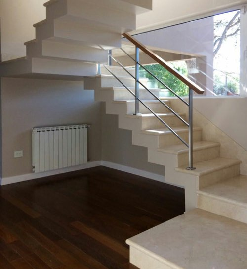 Crema Marfil marble staircases
