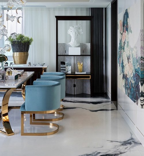 White marble flooring for modern, classical environments