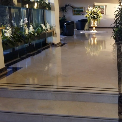 Crema Marfil flooring in a hotel