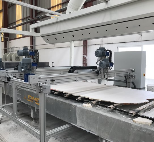 Polishing line of marble boards