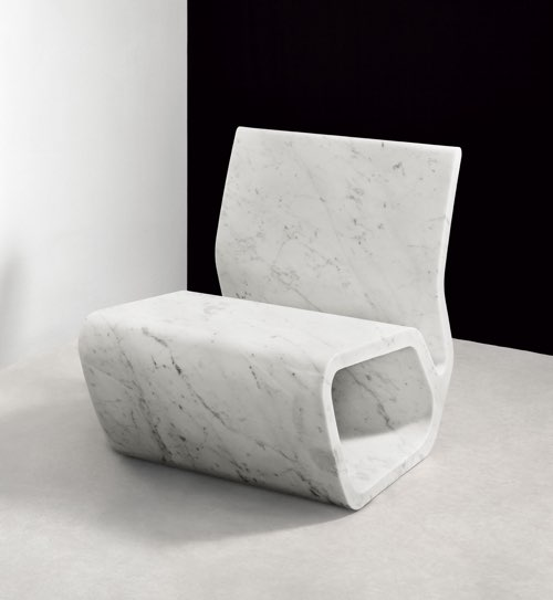 Exclusive marble chair by Marc Newson.