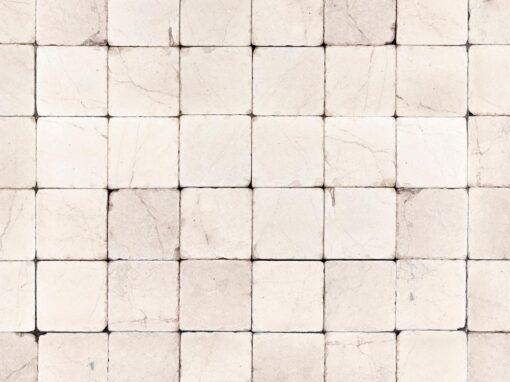 Mosaico cuadrado de mármol blanco