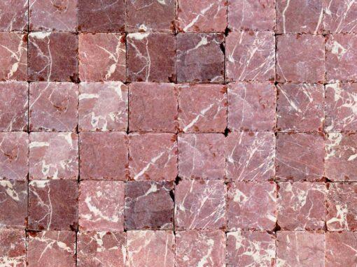 Mosaico mármol rojo cuadrado